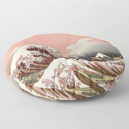 Japanese red sunset tsunami Floor Pillow