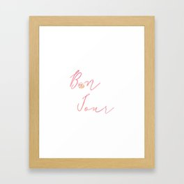 Bonjour Hello French Art Print Flower Home Decor Calligraphy Watercolour Pink Framed Art Print