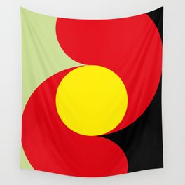 This is a sun splitting the sky in two sides, one black, one green. Spitting deep red round rays. Wall Tapestry