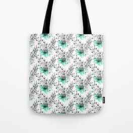 Modern turquoise gray watercolor flowers pattern Tote Bag