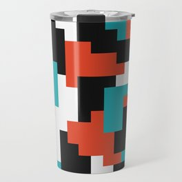 Colour blocking shapes red, teal Travel Mug