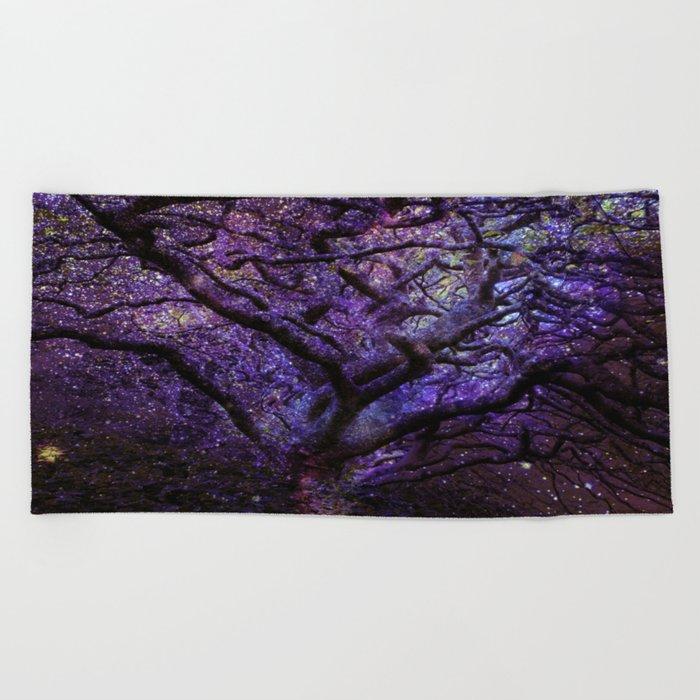 Mystic Tree of Knowledge Purple Beach Towel
