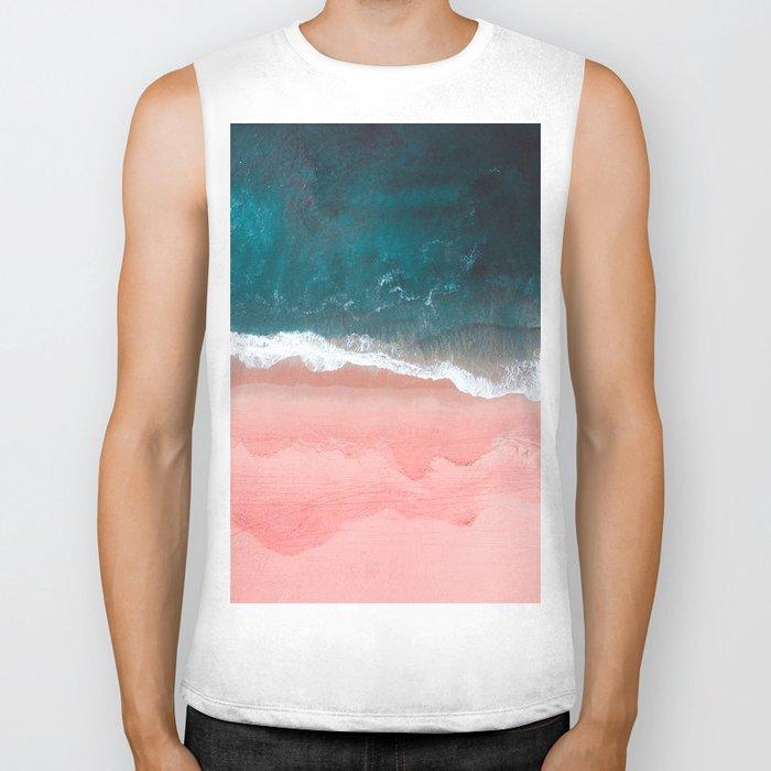 Turquoise Sea Pastel Beach III Biker Tank
