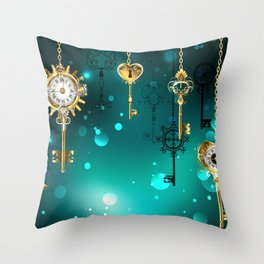 Antique Keys on Green Background ( Steampunk ) Throw Pillow