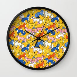 Colored foxes pattern - animals series Wall Clock