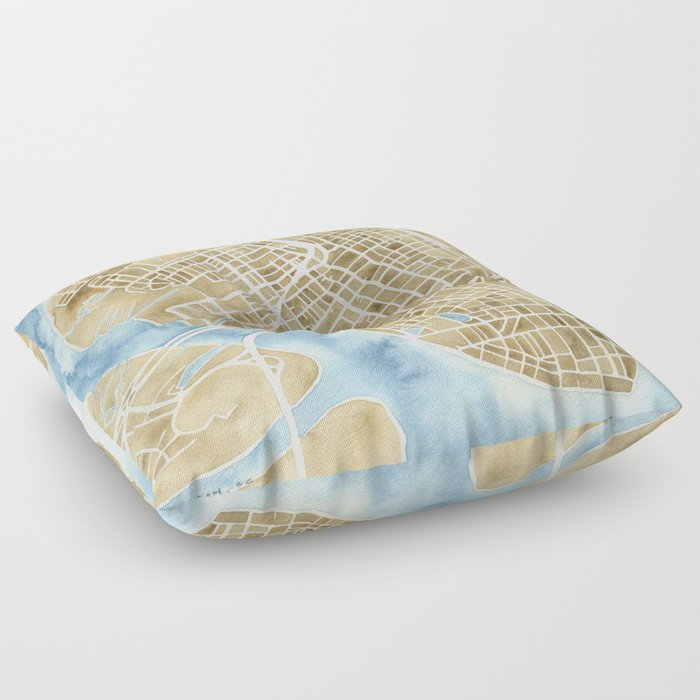 Charleston, South Carolina City Map Art Print Floor Pillow by ...