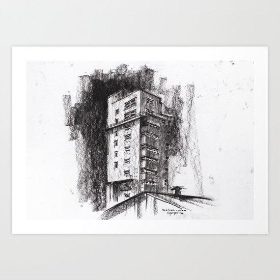 Tablattturm Stuttgart - charcoal Art Print