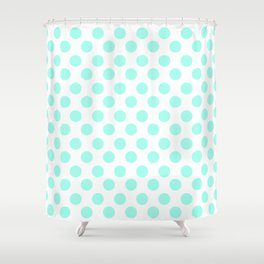 Mint Polka Dots Shower Curtain