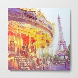 Paris Carousel and Eiffel Tower Watercolor Metal Print