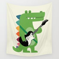 punk rock Wall Tapestries featuring Croco Rock by Andy Westface