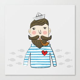 Lovely Bearded Sailor Man Illustration Canvas Print