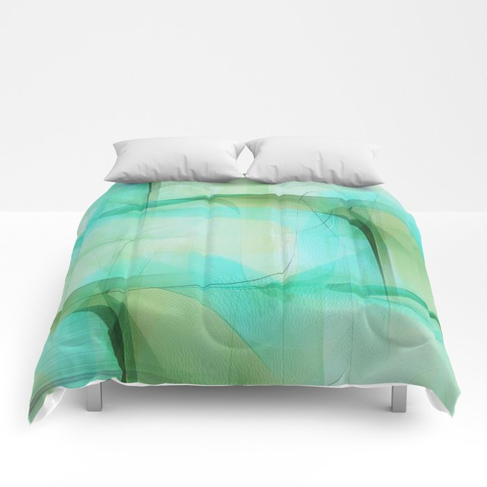 Texture turqoise and green Comforters