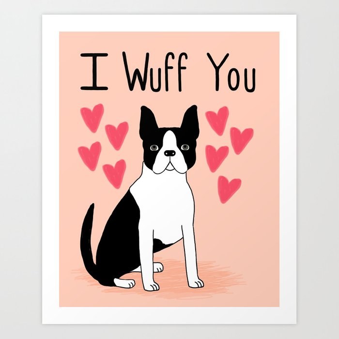 Valentineu0027s Day Boston Terrier Cute Black And White Small Puppy Dog Pet  Gifts For Dog Lover