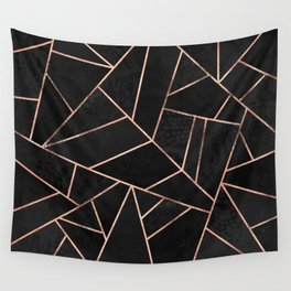Velvet Black & Rose Gold Wall Tapestry
