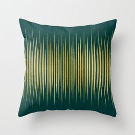 Linear Gold & Emerald Throw Pillow