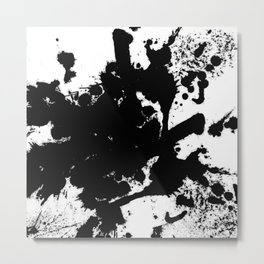 Black and white splat - Abstract, black paint splatter painting Metal Print
