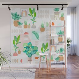 Mid Century Modern Tropical Plant pattern Wall Mural