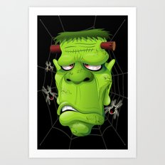 Frankenstein Ugly Portrait and Spiders Art Print