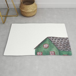 Green and Blue Houses Rug