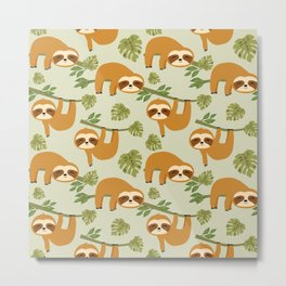 Cute Sloths in the Tropical Jungle, Baby Sloth Metal Print