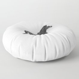Running Horse in Black and White Floor Pillow