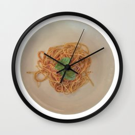 isolated italian spaghetti with tomato sauce and basil Wall Clock