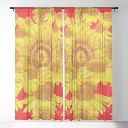 YELLOW SUNFLOWERS PATTERNS ON RED ART Sheer Curtain