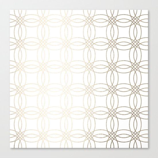 Simply Vintage Link in White Gold Sands on White Canvas Print