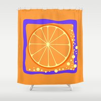 coasters Shower Curtains featuring ORANGE by Tanya Pligina