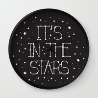 constellations Wall Clocks featuring Constellations  by Estaschia Cossadianos