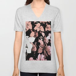 Pink and Black Poinsettia Christmas Holiday Flowers Unisex V-Neck