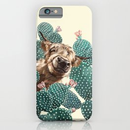 Sneaky Highland Cow and Cactus in yellow iPhone Case