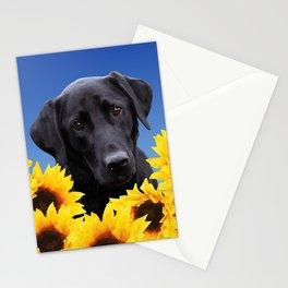 Labrador retriever in Sunflower Field Stationery Cards