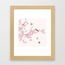 Birds and cherry blossoms Framed Art Print