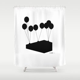 """""""Puffy Ross"""" Up and away Shower Curtain"""