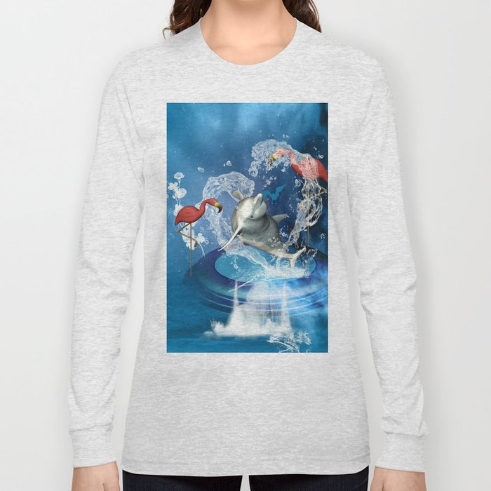 Dolphin jumping by a heart Long Sleeve T-shirt
