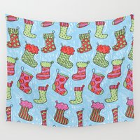 socks Wall Tapestries featuring Christmas 01 by Aloke Design