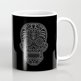 Intricate Gray and Black Day of the Dead Sugar Skull Coffee Mug