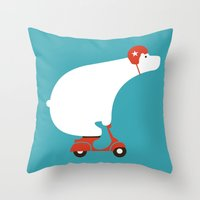 bear Throw Pillows featuring Polar bear on scooter by Picomodi