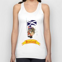 scotland Tank Tops featuring Greetings from Scotland by mangulica