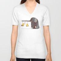 elephant V-neck T-shirts featuring Elephant Swing by Picomodi