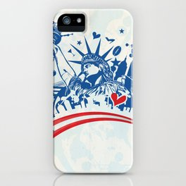 statue of liberty with icon set on flag iPhone Case