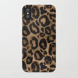 Golden and Black glitter  Leopard/ Jaguar print iPhone Case
