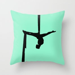 Aerial Silk Silhouette on Mint Throw Pillow