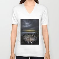 rowing V-neck T-shirts featuring I beg you by HappyMelvin
