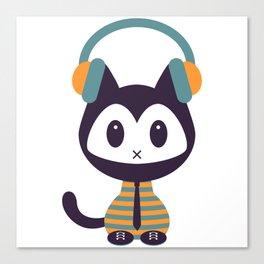 Cute kitten in headphones Canvas Print