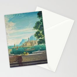 Capriccio of a Mediterranean Seaport Landscape No. 2 by Rex Whistler Stationery Cards