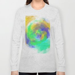splash painting texture abstract in green blue yellow Long Sleeve T-shirt