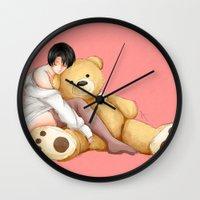 teddy bear Wall Clocks featuring Teddy by Sir-Snellby