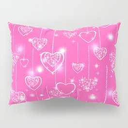 Openwork hearts on a bright pink background Pillow Sham